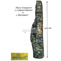 Husa transport  Lansete/Vergi cu 3 compartimente + 2 buzunare, Lungime 145 cm