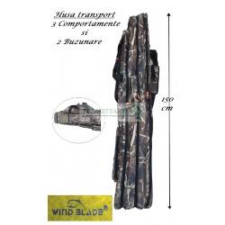 Husa Premium transport Lansete/Vergi cu 3 compartimente + 2 buzunare, Lungime 150 cm