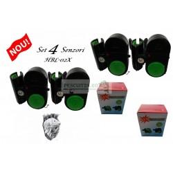 Set 4 avertizori, senzor sonor HBL-02X, aplicare direct pe lanseta cu bateri incluse